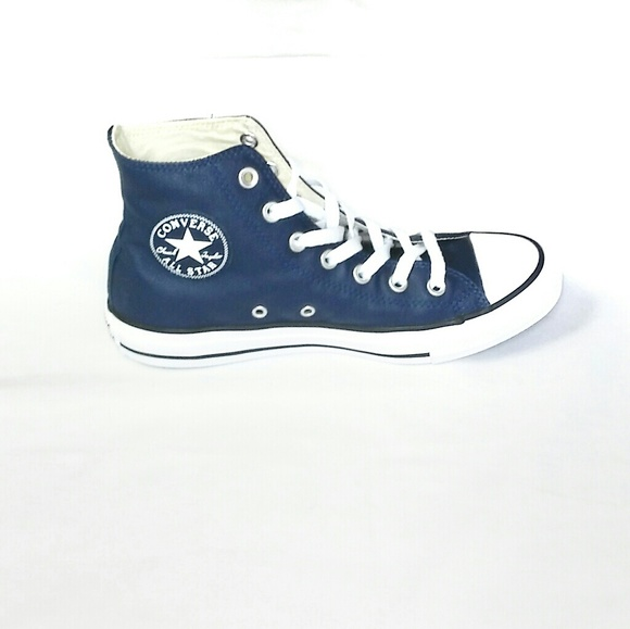 blue leather high top converse